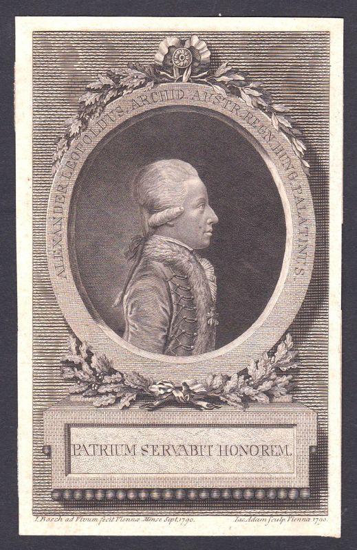 1790 Alexander Leopold von Österreich Portrait Kupferstich antique print Adam