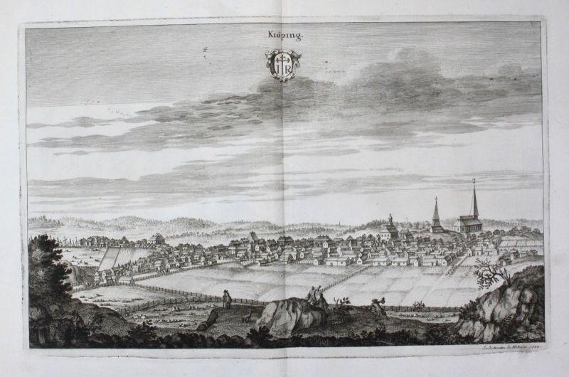 1710 - Köping Västmanland sweden Schweden Kupferstich Dahlberg engraving