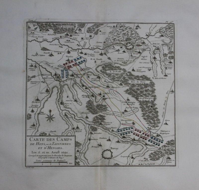 1760 - Saint Ghislain Bavay Boussu Quievrain map Karte Kupferstich gravure