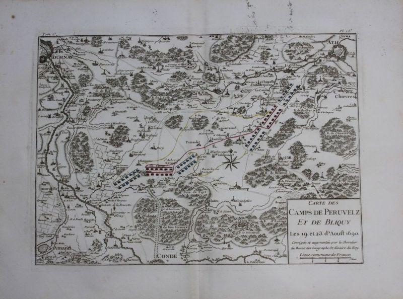 1760 - Ath Tournai Leuze Peruwelz Beloeil map Karte Kupferstich gravure