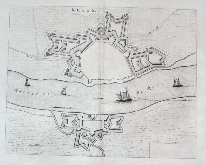Karte Niederrhein.1650 Rees Niederrhein Rhein Kupferstich Blaeu Blau Map Engraving Karte Carte