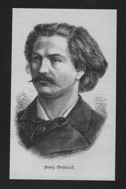 1884 - Franz Ondricek Geiger Komponist wood engraving Holzstich Portrait