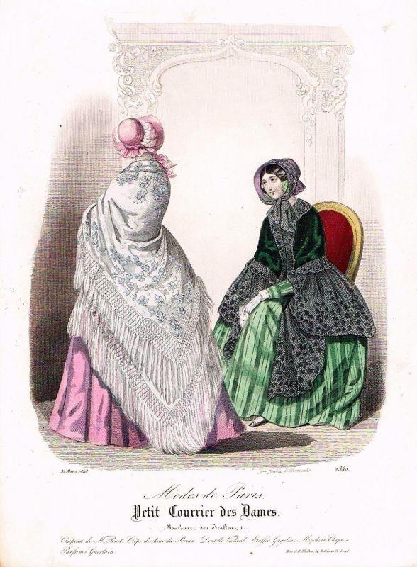 1848 Biedermeier Mode Kupferstich victorian fashion antique print etching  89749