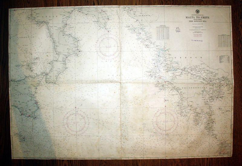 1947 Mediterranean Sea Malta Crete Ionian Sea Greece Griechenland Italy map