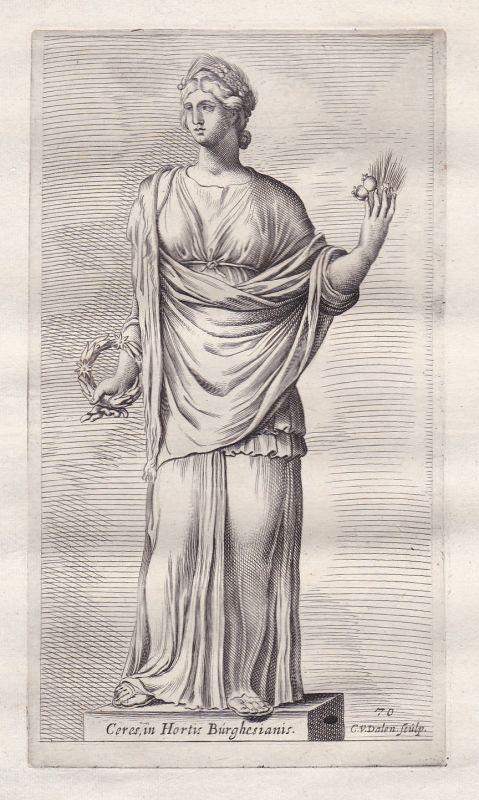 1660 Ceres Mythologie mythology Antike antiquity Kupferstich antique print fruit
