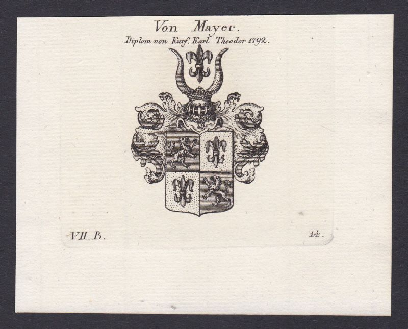 Mayer Maier Mayr Wappen Adel coat of arms Heraldik Kupferstich antique print
