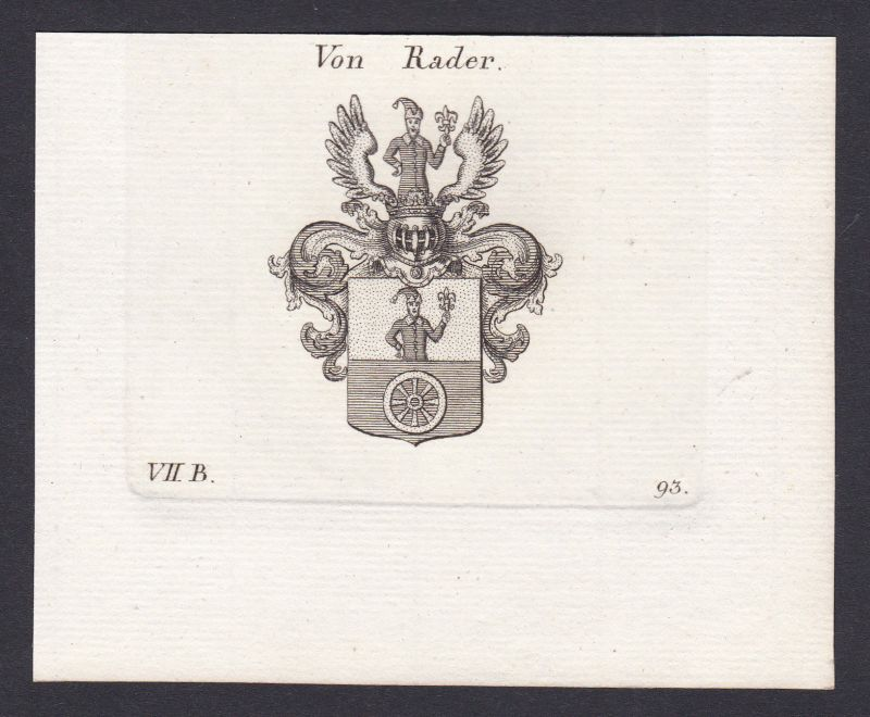 1820 Rader Bayern Wappen Adel coat of arms Heraldik Kupferstich antique print