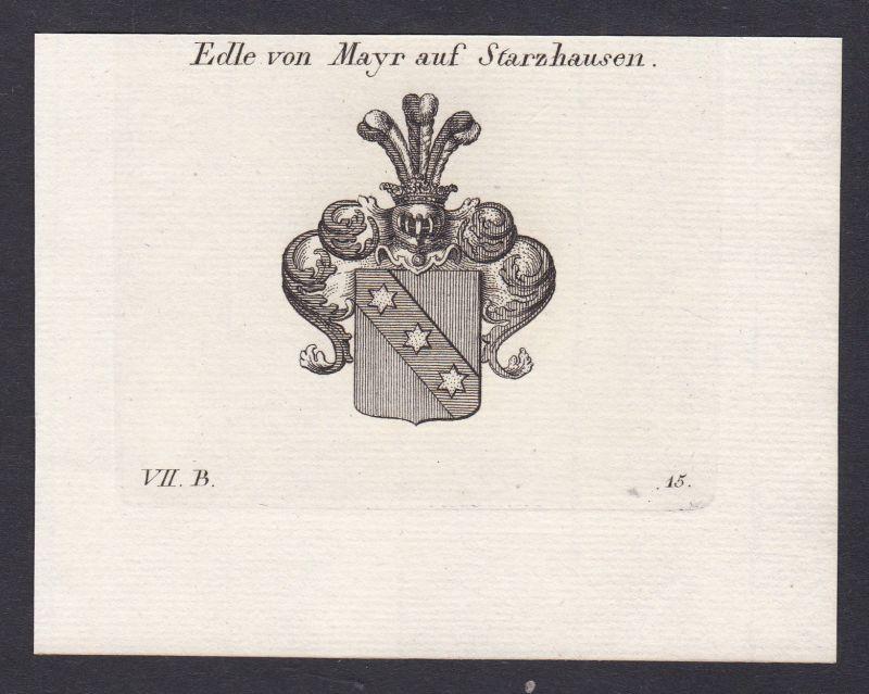 Mayr Starzhausen Wappen Adel coat of arms Heraldik Kupferstich antique print