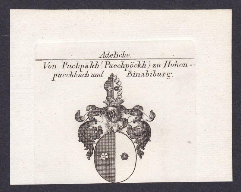 Buchbach Hohenbuchbach Binabiburg Wappen coat of arms Kupferstich antique print