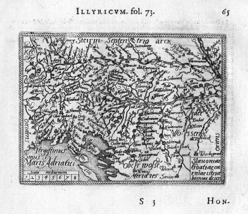 Ansichten & Landkarten Frankreich 1583 Artois Hesdin Arras Lens Galle Heyns Ortelius Map Karte Carte Gravure