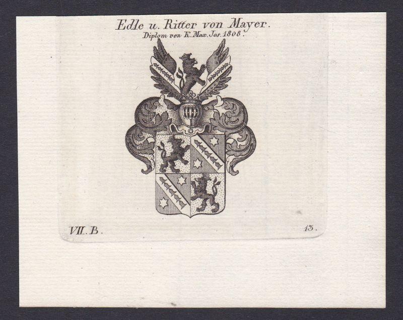 1820 Mayer Maier Mayr Ritter Wappen Adel coat of arms Kupferstich antique print