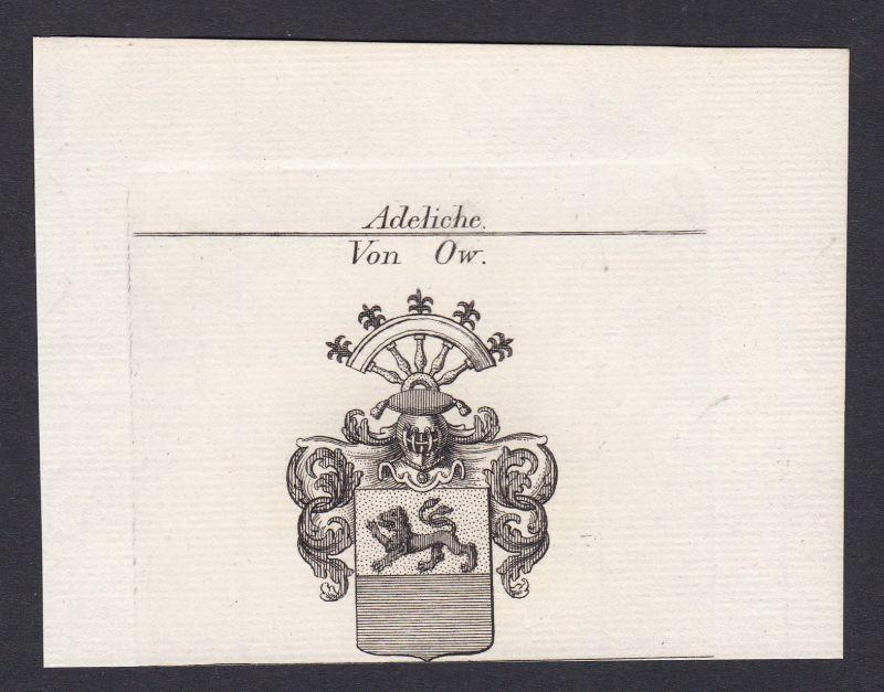 Ow Schwaben Wappen Adel coat of arms heraldry Heraldik Kupferstich antique print