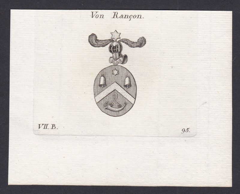 1820 Rancon Bayern Wappen Adel coat of arms Heraldik Kupferstich antique print