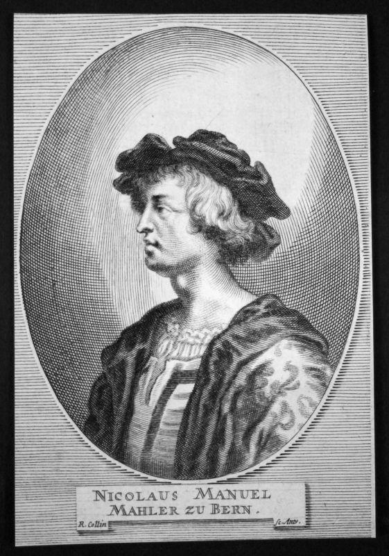 1700 Niklaus Manuel Dichter poet Maler painter Kupferstich etching Portrait