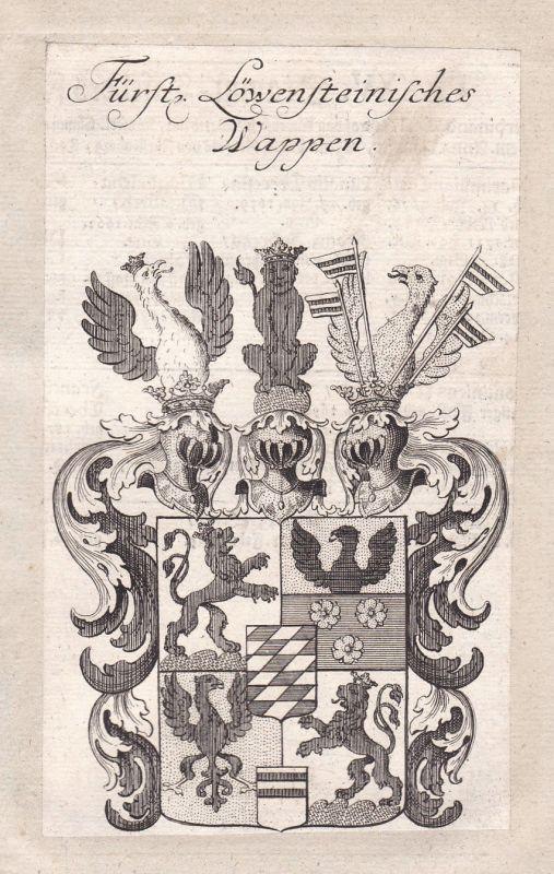 1750 Löwenstein-Wertheim Wappen Adel coat of arms Kupferstich antique print