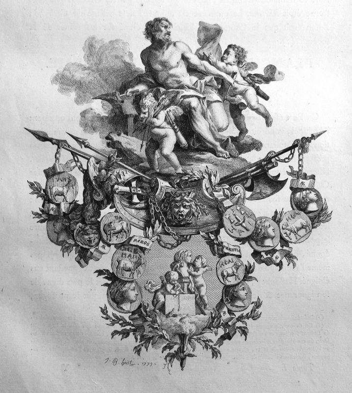 1779 Engel angel Medaille medals Waffen weapons Kupferstich antique print 156872