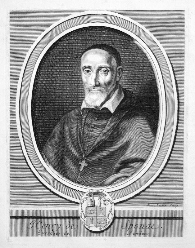 Henri de Sponde Jurist jurist avocat bishop Portrait Kupferstich engraving