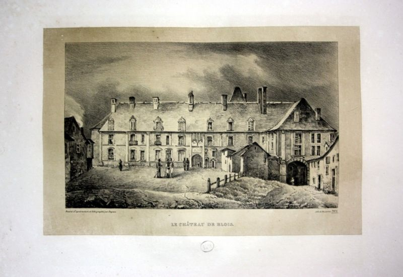 1829 Chateau de Blois Schloss castle France Frankreich Lithographie Litho Dagnan