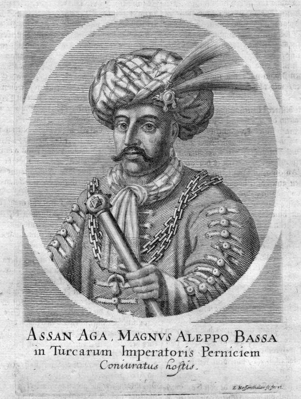 Um 1700 Hasan Aga Turkey Türkei Osman Empire Portrait Kupferstich antique print