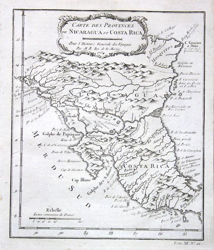 Ca. 1750 Nicaragua Granada Costa Rica Karte map Kupferstich antique print Bellin