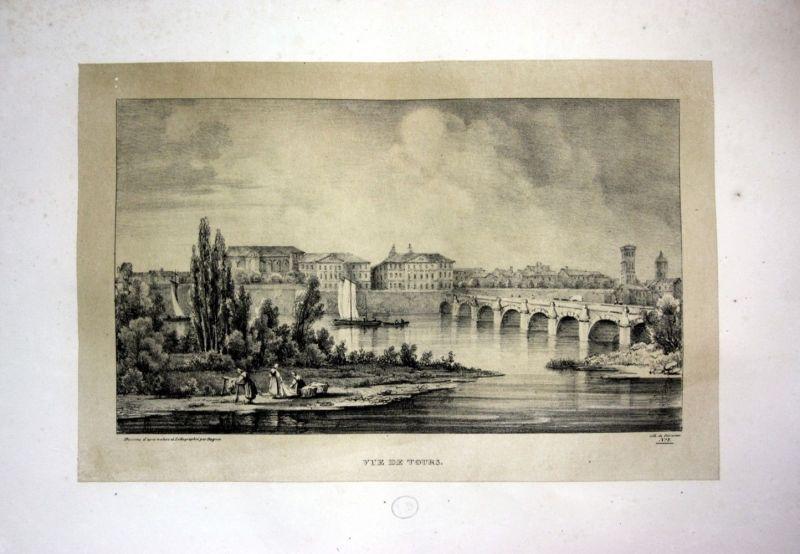 1829 Tours Ansicht vue view Frankreich France Lithographie Litho Dagnan