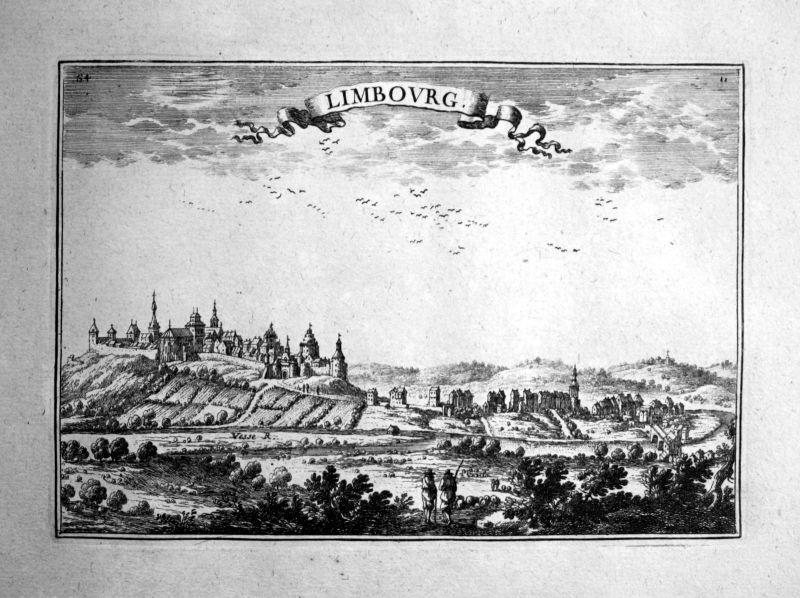1680 Limbourg Limburg Belgique estampe gravure Kupferstich Beaulieu engraving