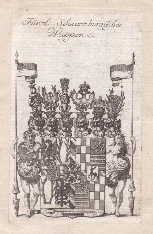 1750 Schwarzburg Thüringen Adel Wappen coat of arms Kupferstich antique print