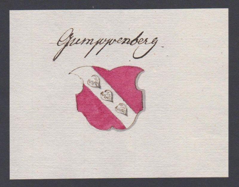 18. Jh. Gumppenberg Adel Wappen Handschrift Manuskript manuscript coat of arms