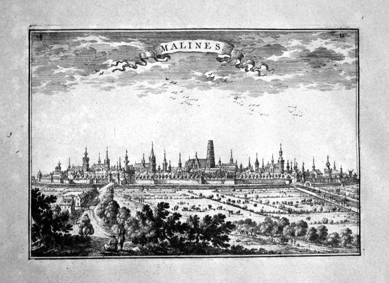 1680 Mechelen Malines estampe gravure Kupferstich Beaulieu engraving