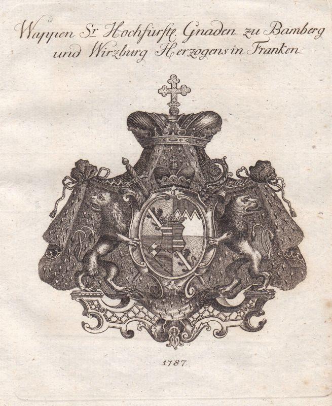 1787 Bamberg Würzburg Franken Wappen coat of arms Kupferstich antique print