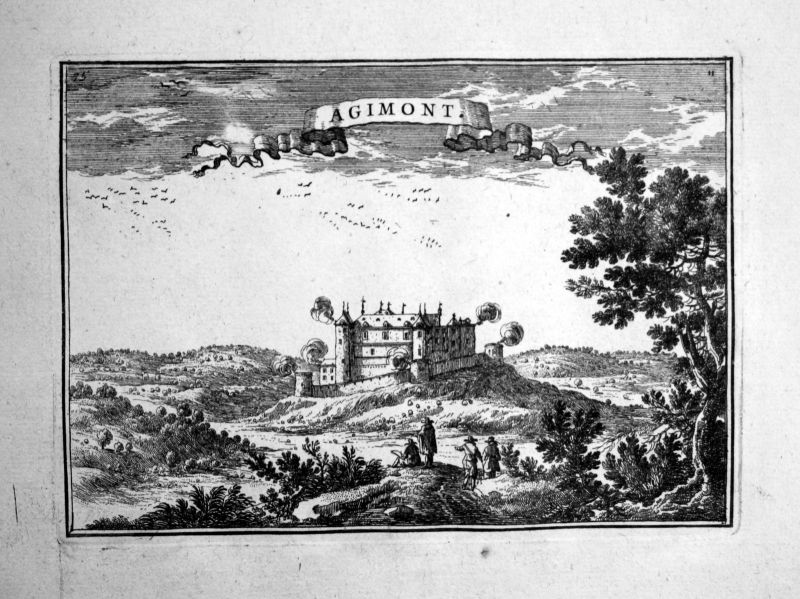 1680 Agimont Belgium Belgique estampe gravure Kupferstich Beaulieu engraving