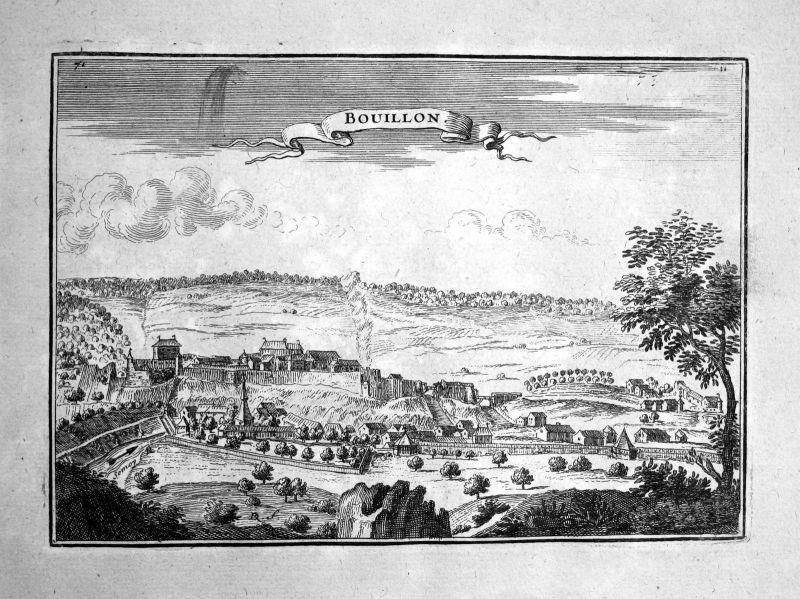1680 Bouillon Belgium estampe gravure Kupferstich Beaulieu engraving