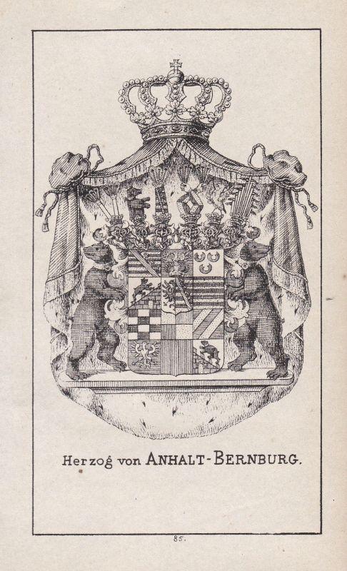 1840 Bernburg Sachsen Sachsen-Anhalt Saxony Wappen Heraldik coat of arms Adel