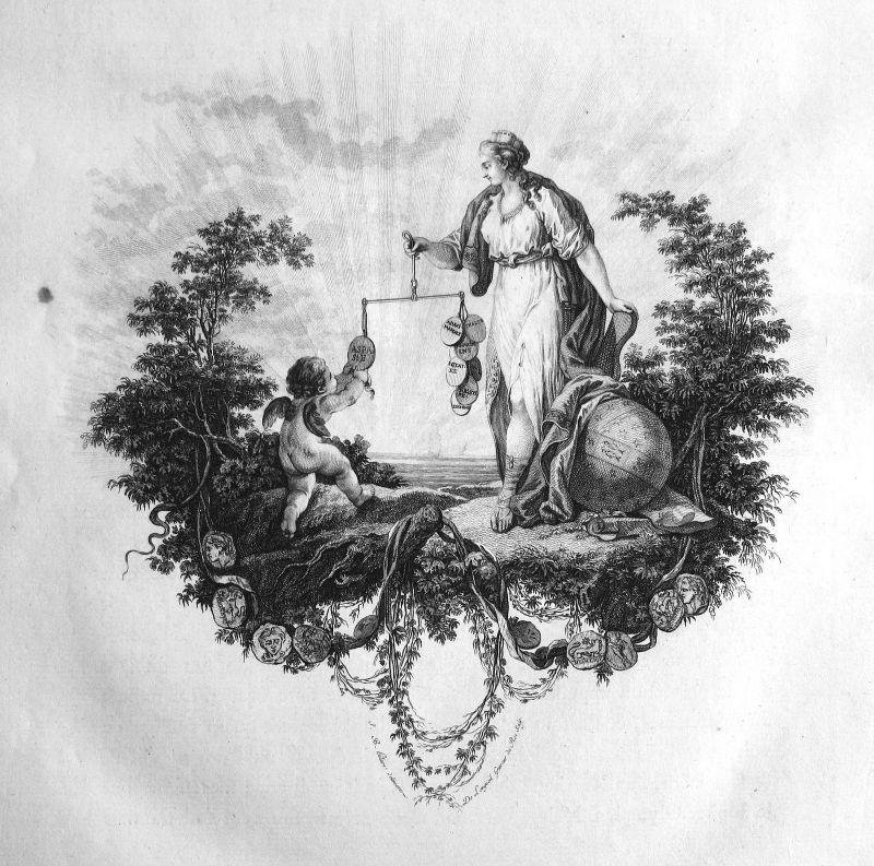 Ca. 1820 angel Engel coins Münzen Waage balance Kupferstich antique print 156860