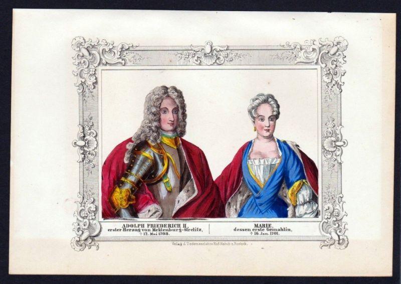 1845 - Adolph Friedrich II Marie Portrait - Mecklenburg Lithographie Ansicht.