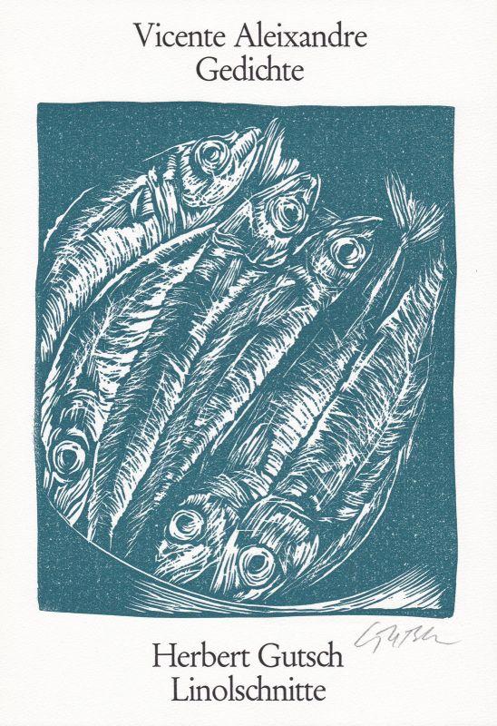 1989 Herbert Gutsch Vicente Aleixandre Original Linolschnitt signiert