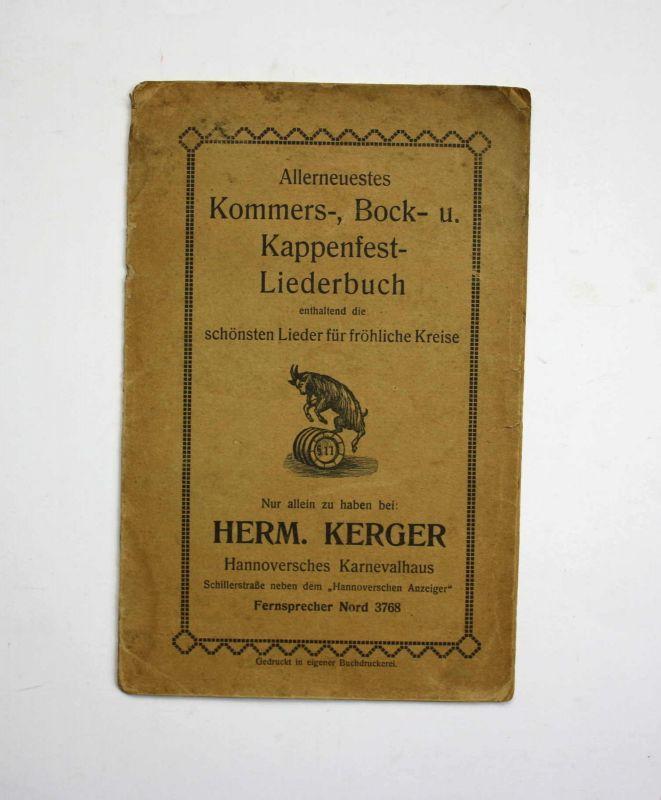 Kommers-, Bock- u. Kappenfest-Liederbuch um 1910 Hannover Karneval Fasching