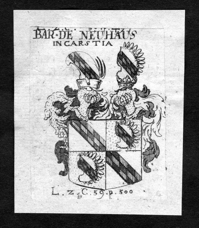 1750 - Neuhaus Wappen Adel coat of arms heraldry Heraldik Kupferstich 126464