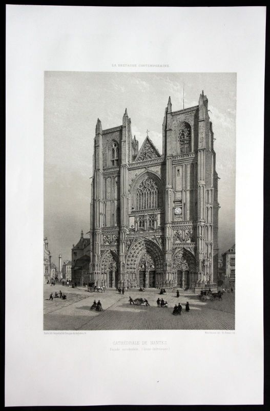 1860 - Nantes Kathedrale Dom Kirche Bretagne Frankreich France Lithographie