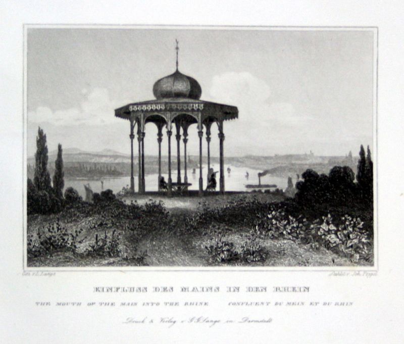 1850 Main Rhein Rhine gravure Stahlstich engraving Poppel Lange