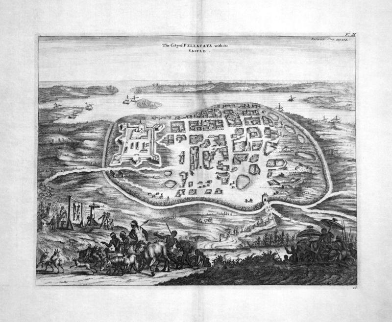 1730 Pulicat city Tamil Nadu India Kupferstich engraving Churchill