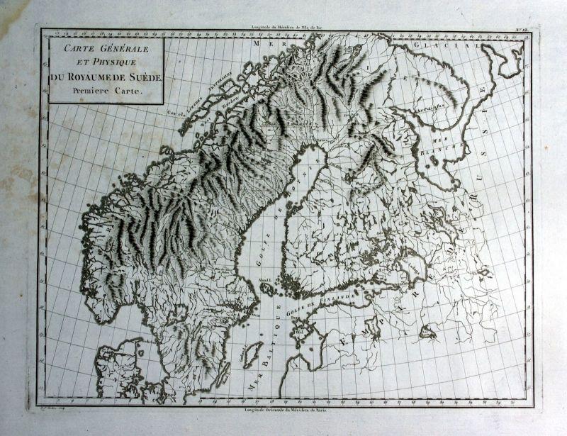 Ca. 1790 Sweden Sverige Norge Norway Russia Karte map Kupferstich antique print