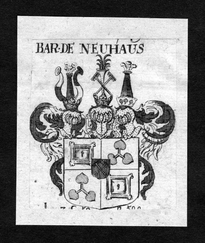 1750 - Neuhaus Wappen Adel coat of arms heraldry Heraldik Kupferstich