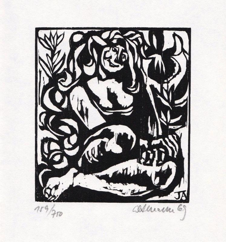 1969 Jiri Altmann Holzschnitt zu einem französischen Volkslied signiert
