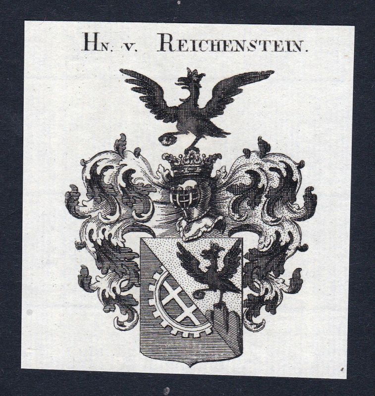 Ca. 1820 Reichenstein Wappen Adel coat of arms Kupferstich antique print