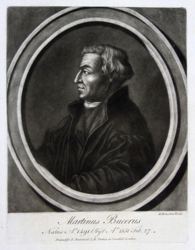 1759 Houston Martin Bucer Portrait Aquatinta mezzotint Theologe Reformator