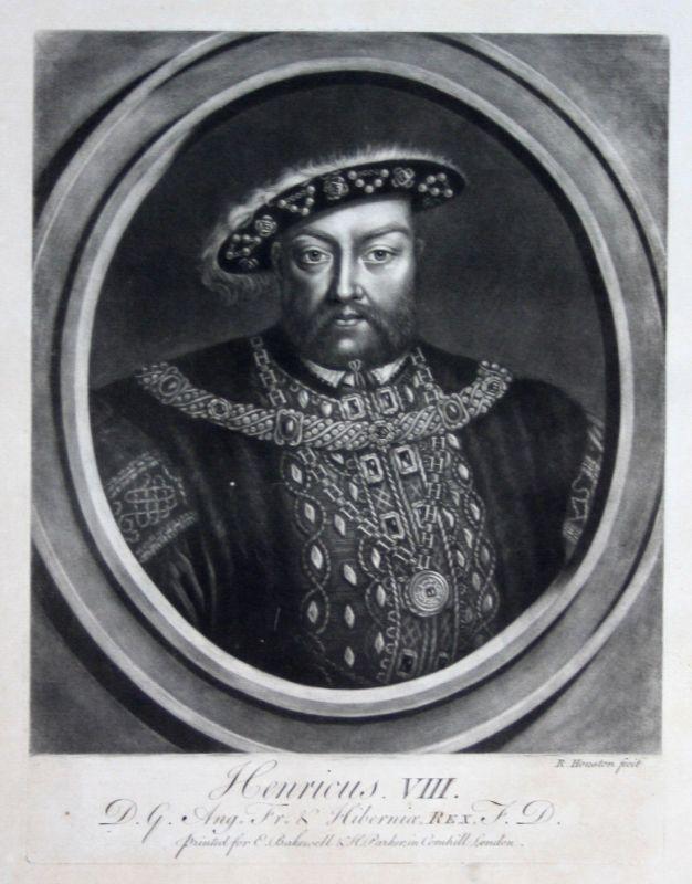 1759 Richard Houston Heinrich VIII Portrait Aquatinta mezzotint König England