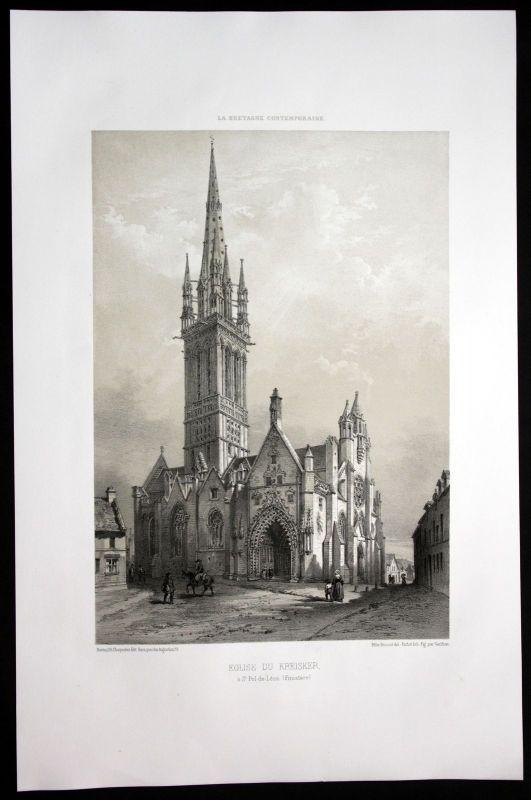 1860 - Kreiske St. Pol de Leon Finistere Bretagne Frankreich France Lithographie