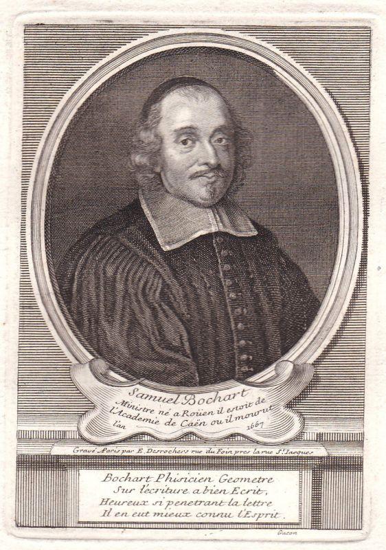17. Jh. Samuel Bochart Rouen Caen erudit gravure Portrait Kupferstich antique