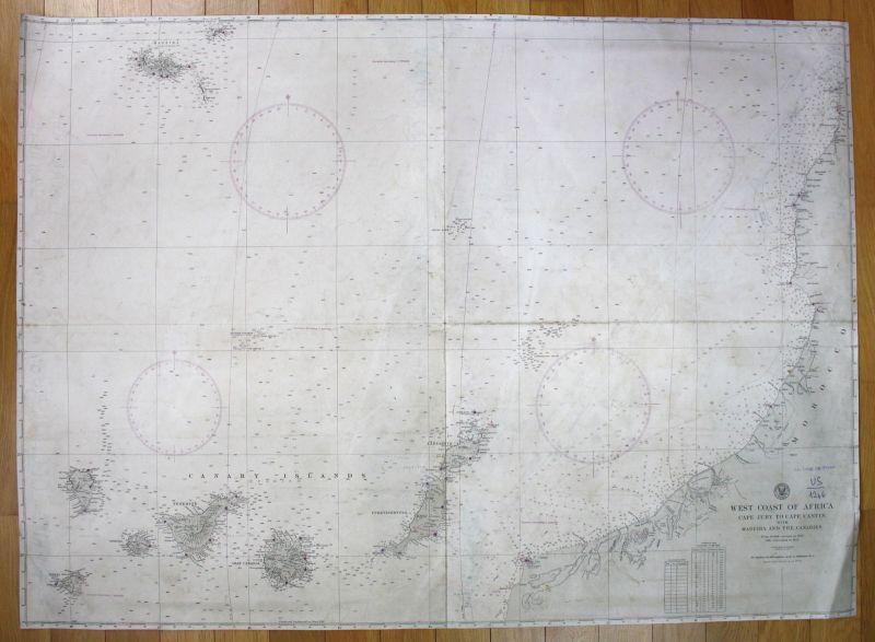 1943 West Coast of Africa Cape Juby Cape Cantin Madeira Canaries Kanaren map